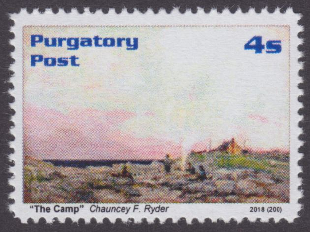 Purgatory Post 4-sola stamp picturing The Camp by Chauncey Ryder