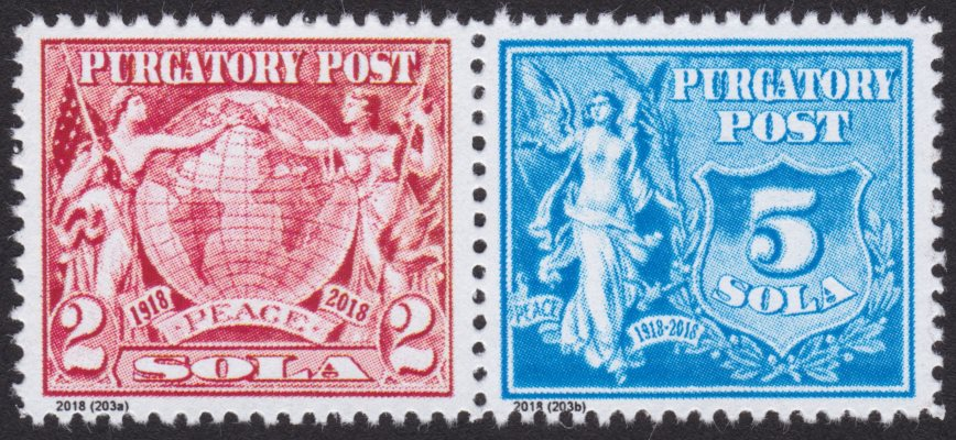 Purgatory Post 2- and 5-sola stamps picturing allegorical figures