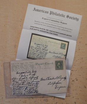 APEX certificate #224872 for 1-cent George Washington stamp on postcard
