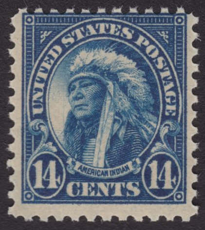 United States American Indian stamp with vertical sratch to left of face