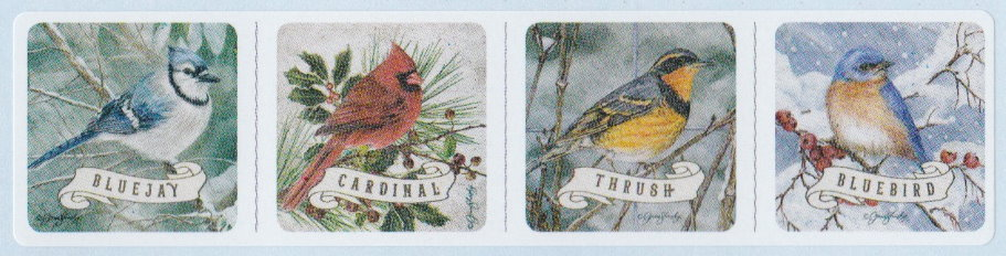 Boys Town cinderella stamp picturing bluejay, cardinal, thrush, and bluebird