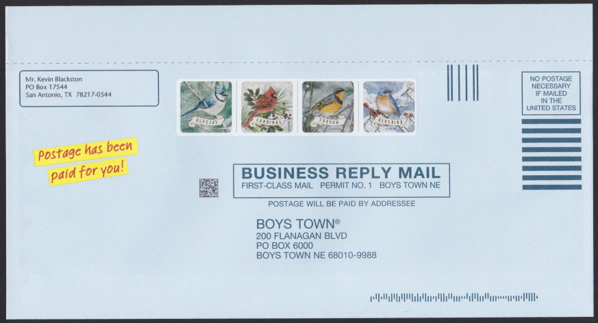Boys Town business reply envelope bearing cinderella stamp depicting bluejay, cardinal, thrush, and bluebird