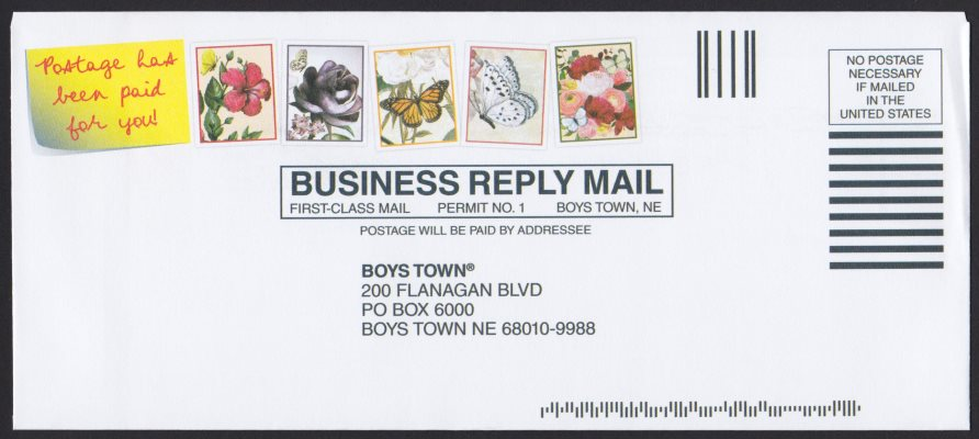 Boys Town business reply cover with five preprinted stamp-like images