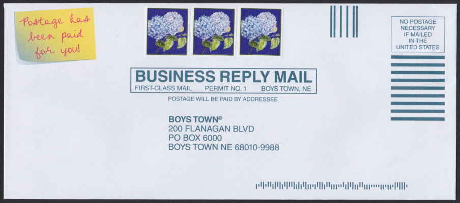 Boys Town business reply envelope bearing hydrangea cinderella stamps