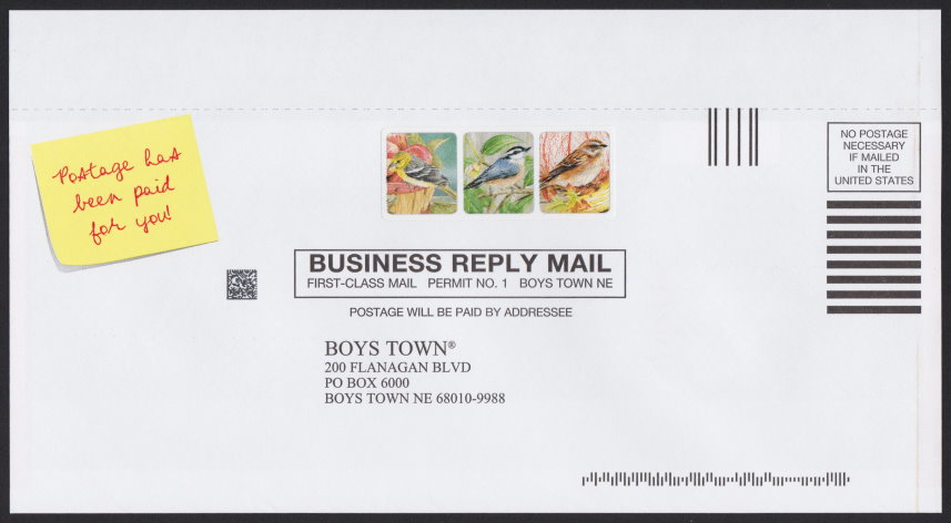 Boys Town business reply envelope bearing cinderella stamp picturing three birds