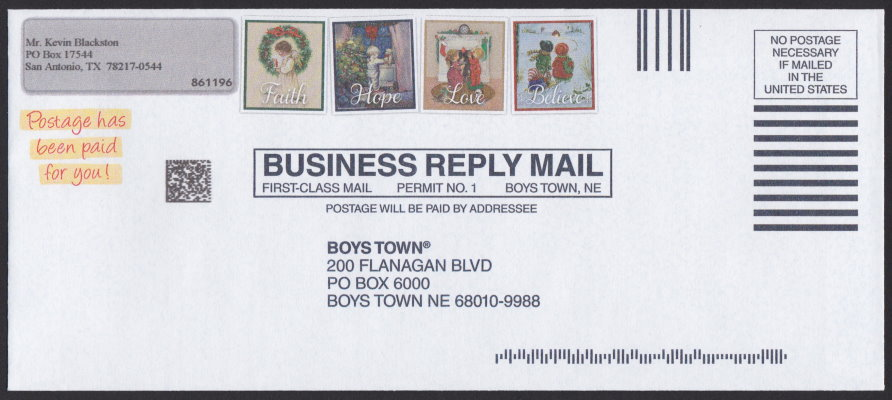 Boys Town business reply envelope bearing four pre-printed stamp-sized designs