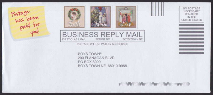 Boys Town business reply envelope bearing three pre-printed stamp-sized designs