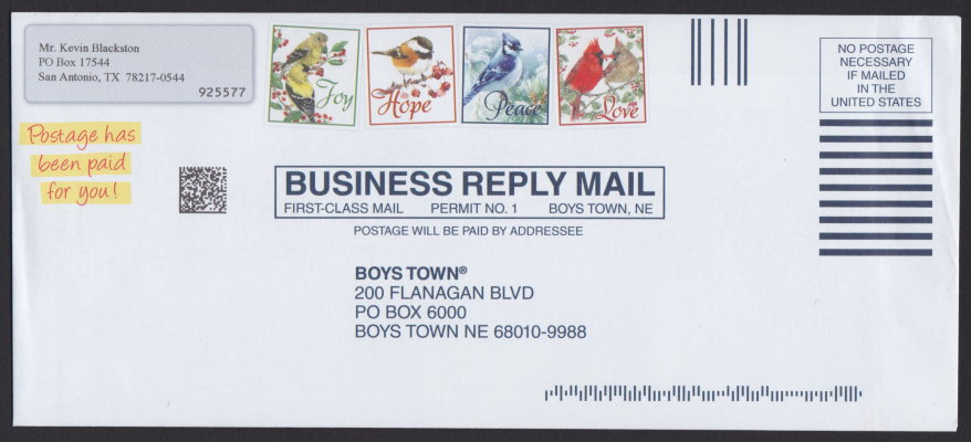 Boys Town business reply envelope bearing four pre-printed stamp-sized designs picturing birds