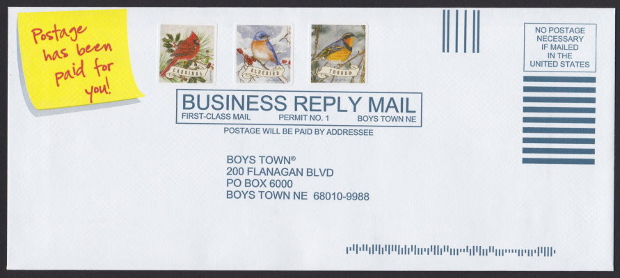 Boys Town business reply envelope bearing cardinal, bluebird, and thrush cinderella stamps