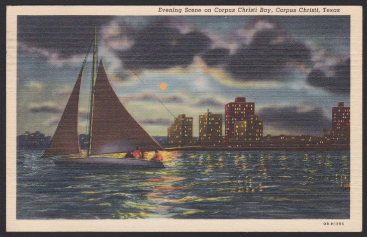 1940s postcard with image captioned 'Evening Scene on Corpus Christi Bay, Corpus Christi, Texas