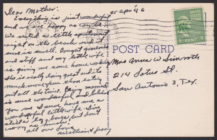 Reverse of 1940s postcard with message from newlywed to his mother