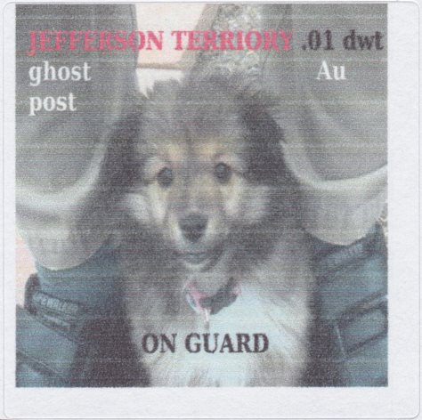 .01-dwt Au Jefferson Territory Ghost Post stamp picturing guard dog