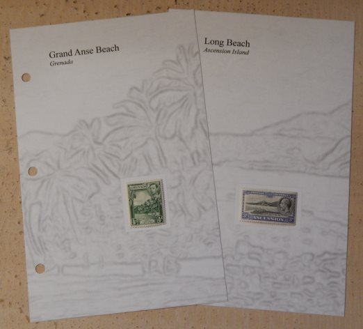 Stamp album pages for stamps picturing Grand Anse Beach, Grenada, and Long Beach, Ascension Island
