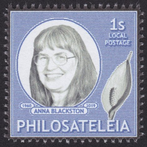Philosateleian Post stamp picturing Anna Blackston & peace lily