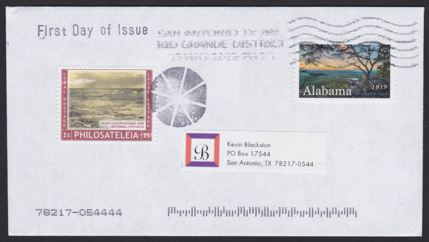 First day cover bearing copy of Philosateleian Post Grand Canyon National Park Centennial local post stamp