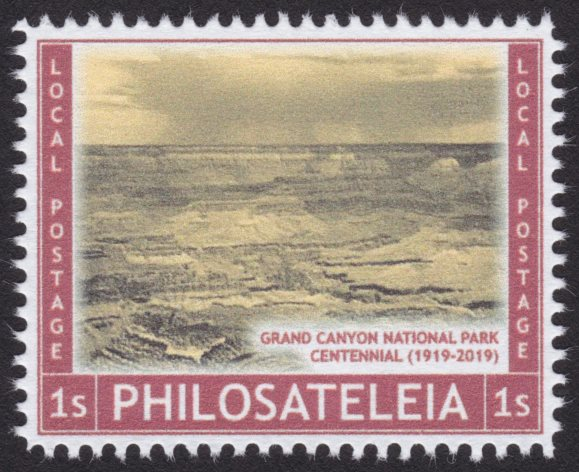 Philosateleian Post stamp picturing the Grand Canyon in Arizona