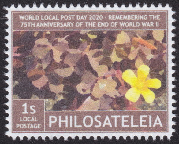 1-stamp Philosateleian Post stamp picturing single yellow flower against background of brown flowers