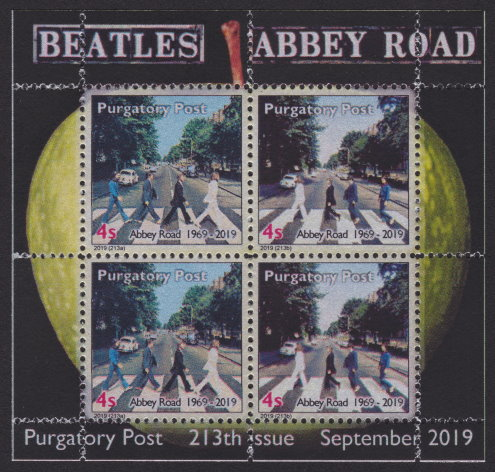 Purgatory Post miniature sheet containing four 4-sola stamps picturing The Beatles