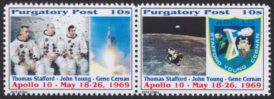 Pair of 10-sola Purgatory Post Apollo 10 stamps picturing crew, spacecraft, lunar module, and mission patch