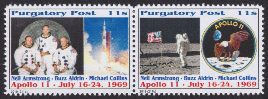 Pair of 11-sola Purgatory Post Apollo 11 stamps picturing crew, spacecraft, Neil Armstrong and an American flag, and mission patch