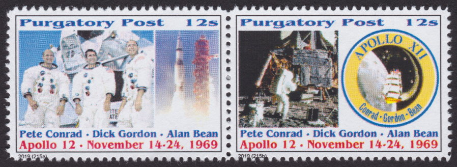 Pair of 12-sola Purgatory Post Apollo 12 stamps picturing crew, spacecraft, Alan Beach, and mission patch