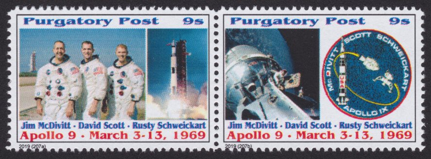 Pair of 9-sola Purgatory Post stamps commemorating Apollo 9