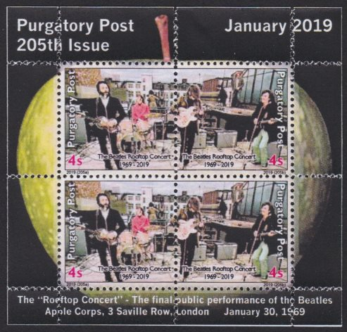 Miniature sheet containing four 4-sola Purgatory Post stamps picturing The Beatles performing on a London rooftop