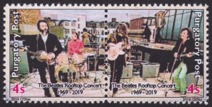 Pair of 4-sola Purgatory Post stamps picturing The Beatles performing on a London rooftop