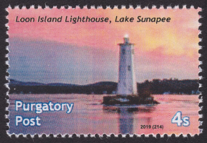 4-sola Purgatory Post stamp picturing Loon Island Lighthouse