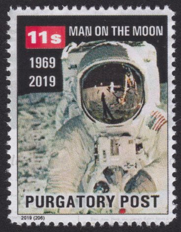 Purgatory Post 11-sola Man on the Moon local post stamp