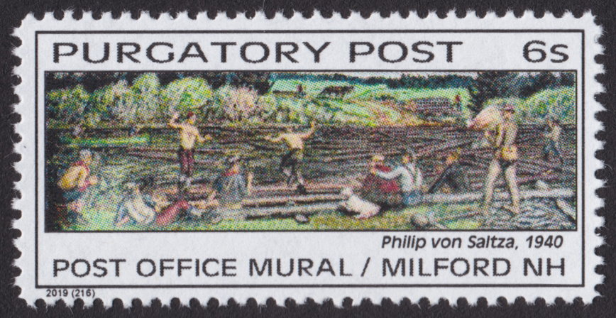 6-sola Purgatory Post stamp picturing Milford, New Hampshire, post office mural painted by Philip von Saltza