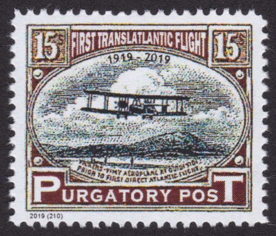 Purgatory Post stamp picturing Vickers Vimy airplane