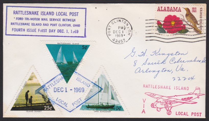 Cover bearing three Rattlesnake Island Local Post stamps canceled on December 1, 1969