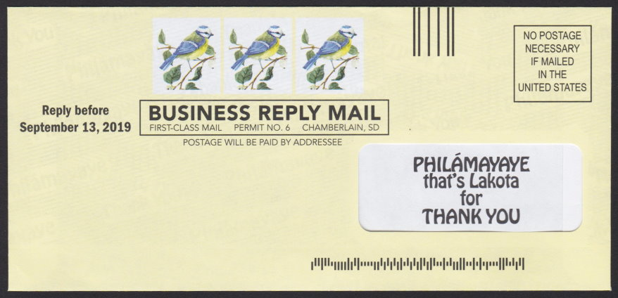 St. Joseph's Indian School business reply envelope featuring preprinted bird images