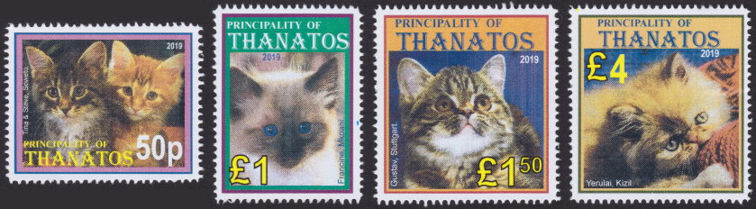 Principality of Thanatos stamps picturing cats