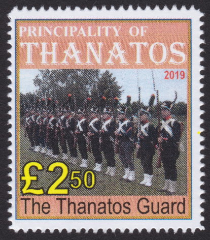 £2.50 Principality of Thanatos stamp picturing members of Thanatos Guard