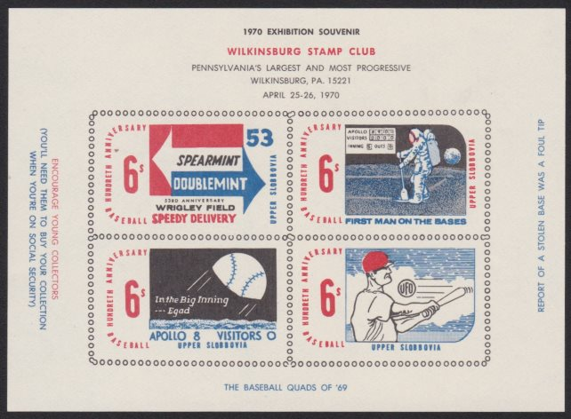 1970 Wilkinsburg Stamp Club souvenir sheet containing four Upper Slobovia cinderella stamps