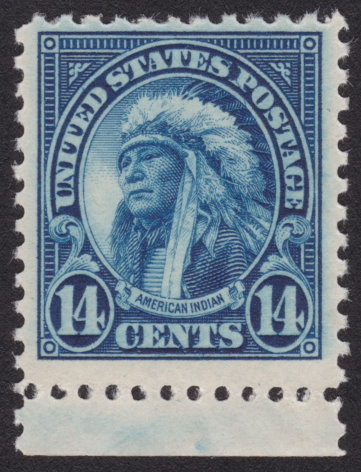 "14¢ American Indian stamp with plate crack running from latter ""S"" in ""States"" to vignette"