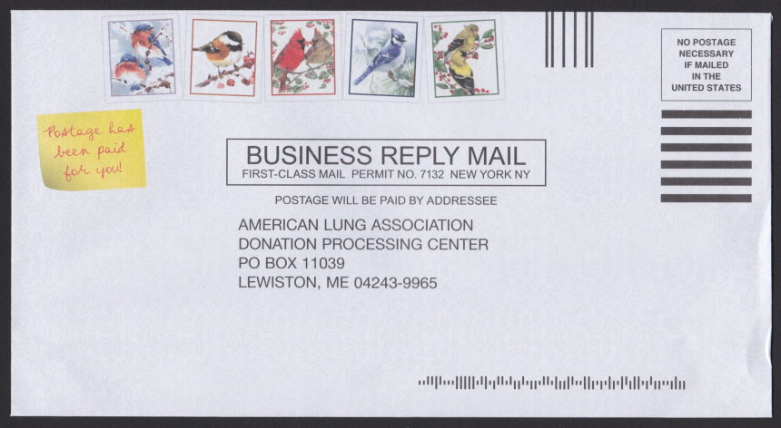 American Lung Association business reply envelope with five preprinted stamp-sized designs picturing birds