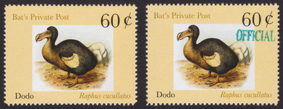 Pair of 60¢ Bat's Private Post stamps picturing dodos