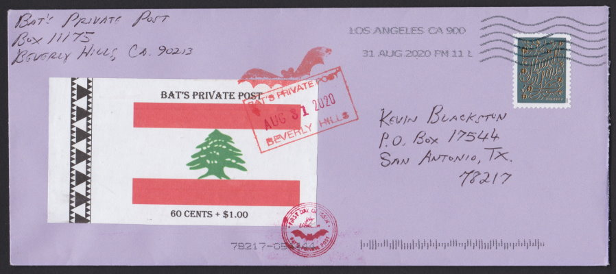 Bat's Private Post Lebanese Flag semipostal local post stamp on first day cover