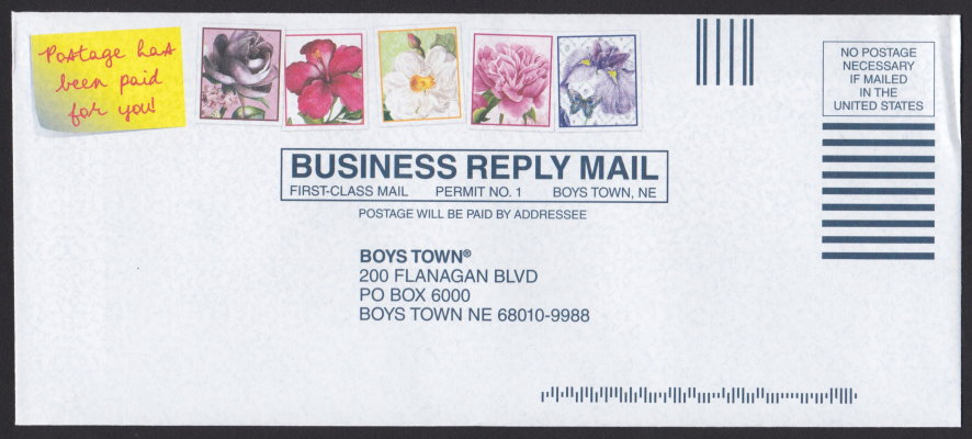 Boys Town business reply envelope bearing four pre-printed stamp-sized designs picturing flowers