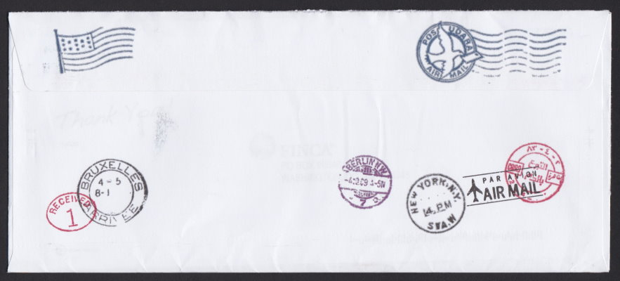 Reverse of non-profit envelope from FINCA
