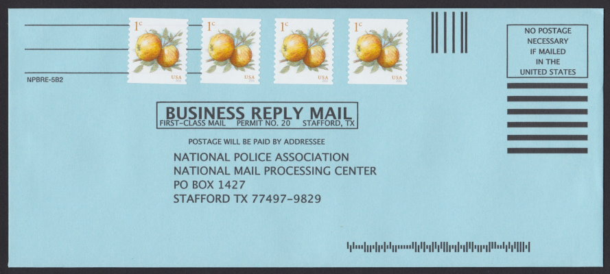 National Police Association business reply envelope bearing four 1#162; Apples stamps