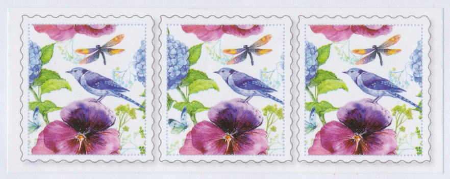 Label bearing three copies of design picturing blue jay, dragonfly, butterfly, and flowers
