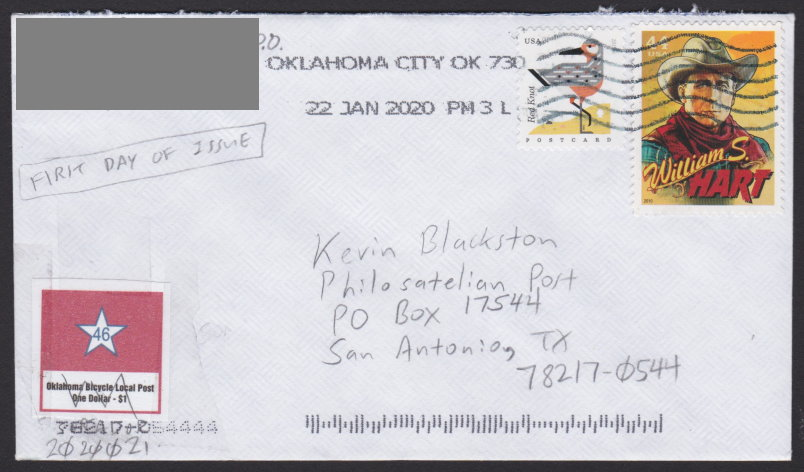 $1 Oklahoma Bicycle Local Post star stamp affixed to first day cover