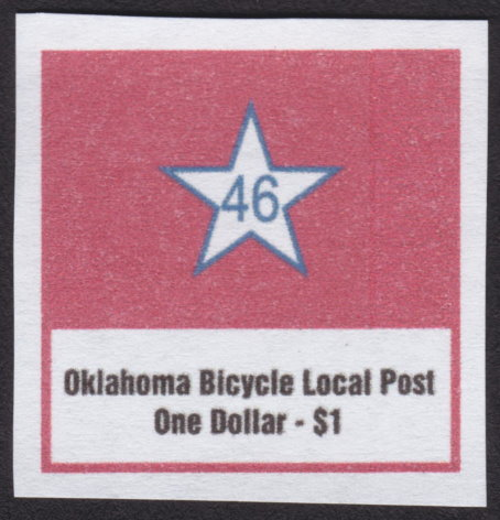 $1 Oklahoma Bicycle Local Post stamp depicting star containing number 46