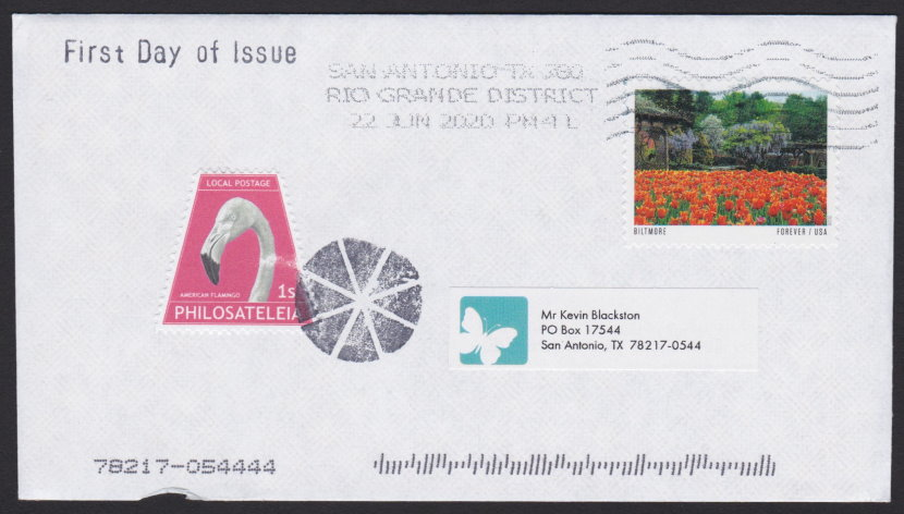 First day cover bearing 1-stamp Philosateleian Post stamp picturing American flamingo