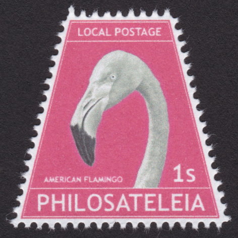 1-stamp Philosateleian Post stamp picturing American flamingo