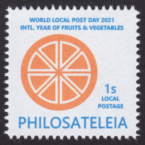 1-stamp Philosateleian Post stamp picturing cross section of a stylized orange